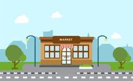Bâtiment de magasin de boutique sur la rue avec l'arbre Image libre de droits