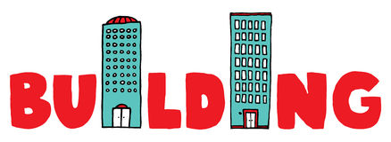 Bâtiment de mot de bande dessinée illustration libre de droits