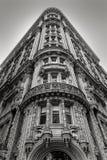 Bâtiment de New York - façade et détails architecturaux - noir et W images libres de droits