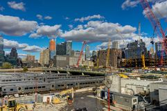 Bâtiment de New York Highline Hudson Yards Construction Work Cranes Images libres de droits