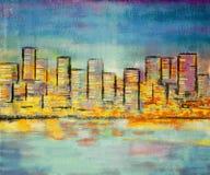 Bâtiment de peinture d'impressionisme Images stock