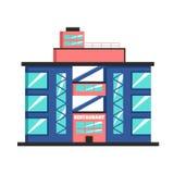 Bâtiment de restaurant Illustration plate de vecteur Style de constructivisme illustration stock