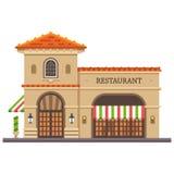 Bâtiment de restaurant Pizza et pâtes italiennes La livraison de nourriture Image libre de droits