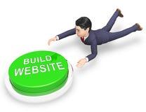 Bâtiment de site Web intégrant le rendu dans le logiciel de la solution 3d illustration de vecteur