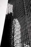 Bâtiment des fenêtres en noir et blanc Photos stock
