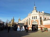 Bâtiment du marché de ville de Liepaja, Lettonie Photo libre de droits