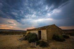 Bâtiment espagnol au coucher du soleil Image stock