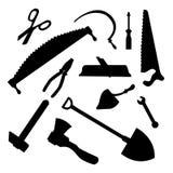 Bâtiment et ensemble de silhouette d'outils de menuiserie Illustration monochrome de vecteur Photo stock