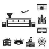 Bâtiment et icônes noires d'architecture dans la collection d'ensemble pour la conception Web d'actions de symbole de vecteur de  illustration stock