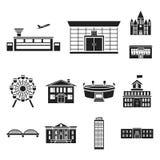Bâtiment et icônes noires d'architecture dans la collection d'ensemble pour la conception Web d'actions de symbole de vecteur de  illustration de vecteur