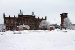 Bâtiment historique architectural pendant l'hiver Construction moderne Photos stock