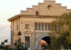 Bâtiment historique avec l'entrée principale à l'ancien marché aux bestiaux à Padoue en Vénétie (Italie) Images libres de droits