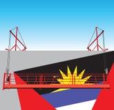 Bâtiment industriel de mur avec le drapeau de l'Antigua-et-Barbuda Photos stock