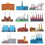 Bâtiment industriel de vecteur d'usine et industrie ou fabrication avec l'ensemble d'illustration de puissance d'ingénierie de fa illustration de vecteur