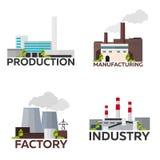 Bâtiment industriel prémonté fabrication Illustration plate de vecteur illustration libre de droits