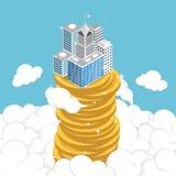 Bâtiment isométrique d'affaires sur la pile de la pièce de monnaie au-dessus du nuage illustration libre de droits