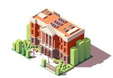 Bâtiment isométrique d'université de vecteur illustration stock