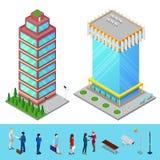 Bâtiment isométrique de bureau municipal de gratte-ciel avec des gens d'affaires Photos stock