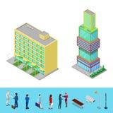Bâtiment isométrique de bureau municipal de gratte-ciel avec des gens d'affaires Image libre de droits