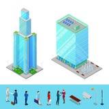 Bâtiment isométrique de bureau municipal de gratte-ciel avec des gens d'affaires Photo stock