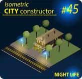 Bâtiment isométrique moderne dans la lumière de nuit Image libre de droits
