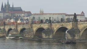 Bâtiment le long de rivière de Vltava banque de vidéos