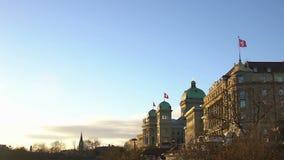 Bâtiment majestueux du parlement national et de gouvernement suisses, ordre public banque de vidéos