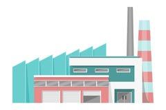 Bâtiment moderne d'usine avec des ateliers et des cheminées Images libres de droits