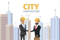 Bâtiment moderne de construction de ville de concept de vecteur illustration stock
