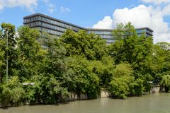 Bâtiment moderne des sièges sociaux d'Office européen des brevets Photos libres de droits