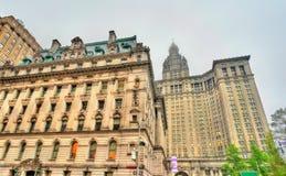 Bâtiment municipal de remplacement de tribunal et de Manhattan du ` s à New York City, Etats-Unis Image libre de droits