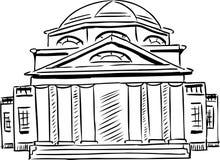 Bâtiment néoclassique décrit avec la porte obscurcie illustration de vecteur