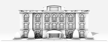 Bâtiment noir et blanc 0 Photo stock