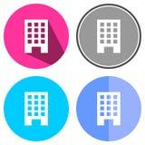 Bâtiment plat d'icônes Images libres de droits