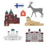 Bâtiment plat de pays de la Finlande, point de repère d'icône de voyage Architecture de ville de Helsinki Vacances européennes de illustration stock