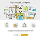 Bâtiment plat et réparation de bannière horizontale de concept Images libres de droits