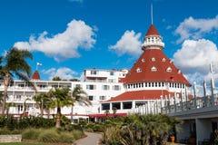 Bâtiment principal d'hôtel Del Coronado dans Coronado, la Californie Photographie stock libre de droits