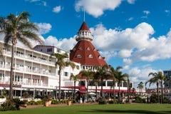 Bâtiment principal et cour d'hôtel Del Coronado en Californie du sud Photographie stock libre de droits