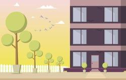 Bâtiment résidentiel de cour d'illustration de vecteur illustration de vecteur