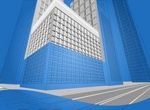 Bâtiment résidentiel de Wireframe illustration de vecteur