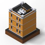 Bâtiment résidentiel orange dans une petite plate-forme d'isolement Illustration de la trame 3d d'une vue de perspective rendu 3d Photo libre de droits