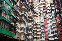 Bâtiment résidentiel surpeuplé en Hong Kong images libres de droits