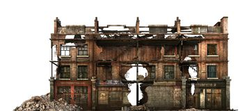 Bâtiment ruiné d'isolement sur l'illustration 3D blanche Photo libre de droits