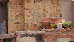 Bâtiment ruiné pendant les 7 Tremblement de terre de 8 grandeurs, Equateur Images libres de droits