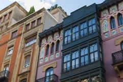 Bâtiment scalaire rose de Bilbao photos libres de droits