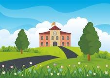 Bâtiment scolaire avec la belle bande dessinée de paysage de nature illustration de vecteur