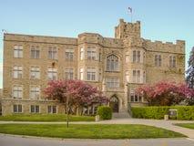 Bâtiment scolaire iconique d'université d'Ontario occidental images stock
