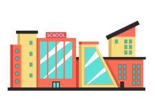 Bâtiment scolaire Illustration plate de vecteur Style de constructivisme illustration de vecteur