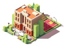 Bâtiment scolaire isométrique de vecteur illustration libre de droits