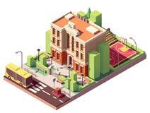 Bâtiment scolaire isométrique de vecteur illustration stock
